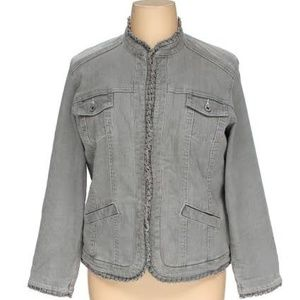 Chicos Platinum Gray Denim Jacket w/ Ruffle XL(3)